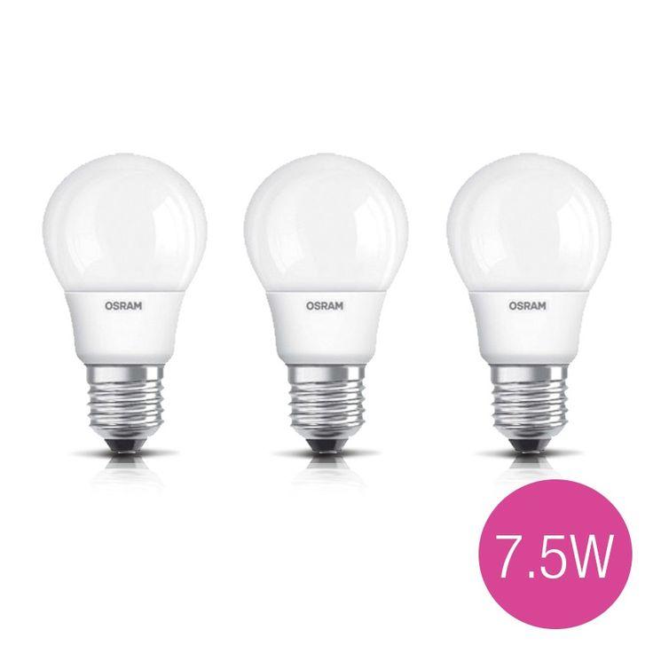 Jual 3 Lampu Bohlam LED OSRAM 7.5 Watt (pengganti bohlam pijar 60 Watt).  Garansi Resmi 1 Tahun.  -  Tahan lama hingga 15 tahun - Hemat energi - Cahaya lebih terang - Tidak mudah panas - Setara dengan lampu pijar 60W, fitting E27 - Harga untuk 3 lampu.  http://lampu.com/lampu-led-bulb-bohlam/554-jual-3-lampu-bohlam-led-osram-75-watt-pengganti-bohlam-pijar-60-watt.html  #lampuled #bohlam #lampuhematenergi #osram