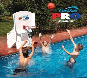 Here is a great selection of poolside basketball hoops. They are portable, adjustable and affordable.