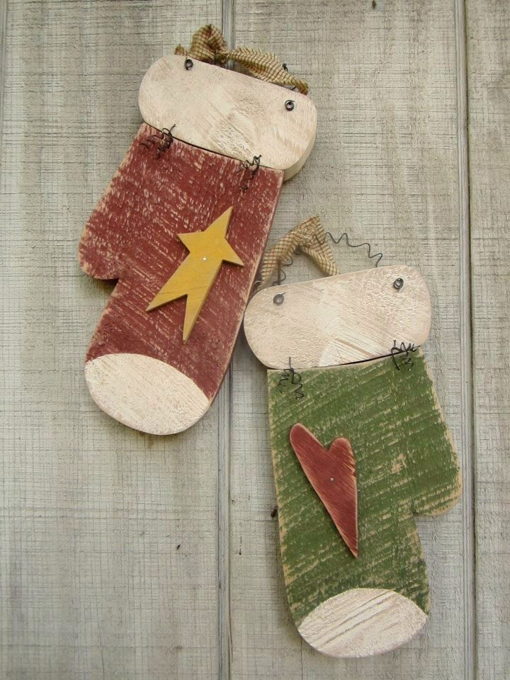 Country Primitive Wood Mittens Holiday Home Decor by LnMPrimitives on Etsy https://www.etsy.com/listing/169207537/country-primitive-wood-mittens-holiday
