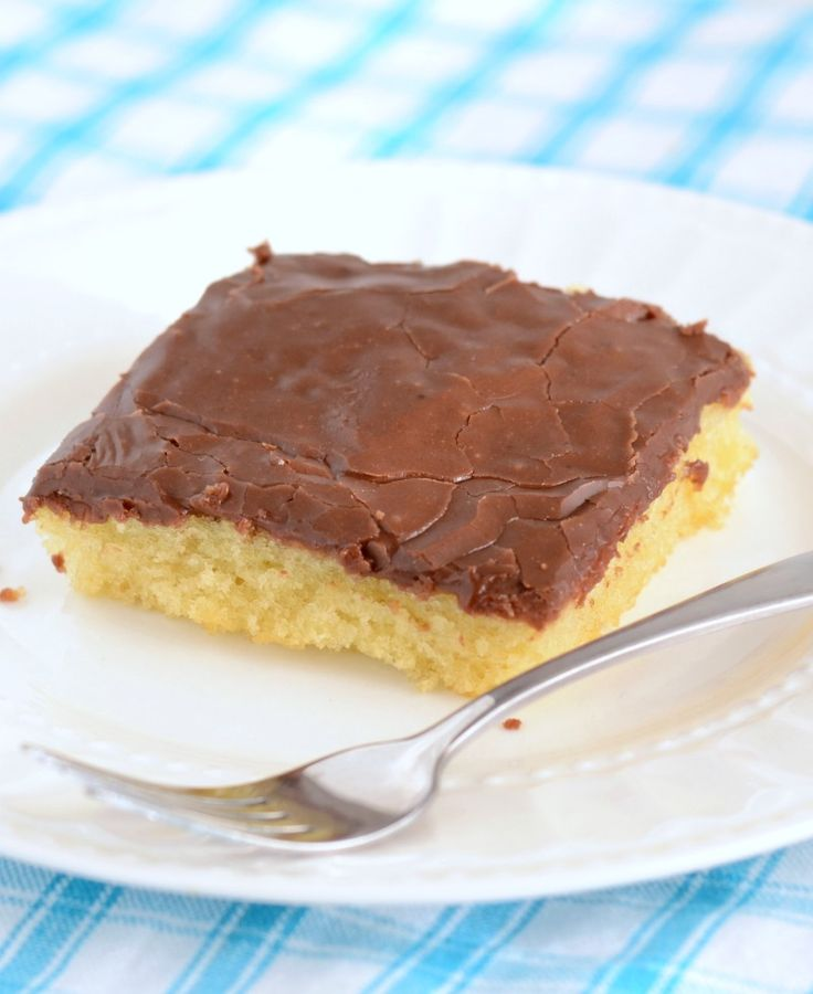 Everyone loves this White Texas Sheet Cake with Chocolate Frosting. It practically melts in your mouth!