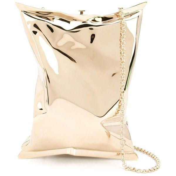 Anya Hindmarch 'Crisp Packet' clutch (£1,425) ❤ liked on Polyvore featuring bags, handbags, clutches, gold, anya hindmarch purse, anya hindmarch, beige clutches, beige purse and anya hindmarch handbags
