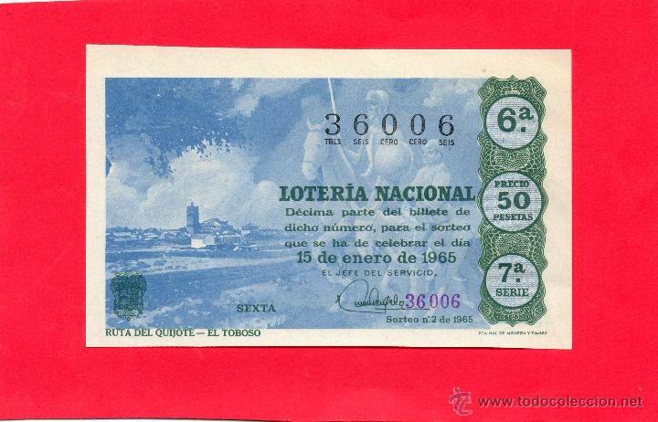 LOTERIA NACIONAL SORTEO 2 DE 1965 RUTA DEL QUIJOTE EL TOBOSO
