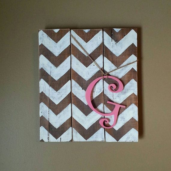 Reclaimed chevron initial sign. by salvagedwithgrace on Etsy