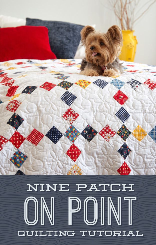 Learn to make this 9-Patch on Point Quilt!