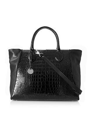 50% OFF Rowallan of Scotland Women's Sofia Croco Tote Bag, Black Croco