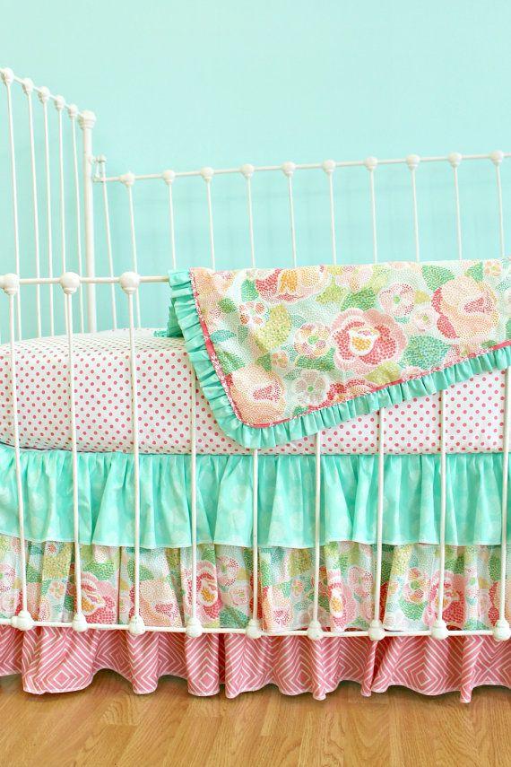 Bumperless Baby Girl Crib Bedding -  Salmon & Mint Mosaic Rose