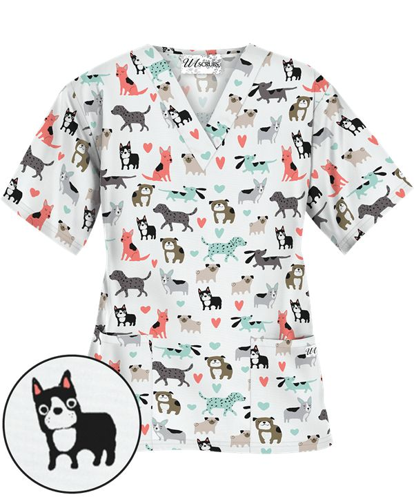 $12.99 UA Doggy Dog White V-Neck Print Scrub Top, Pediatric Scrubs