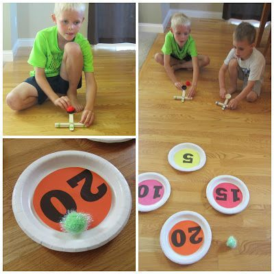 Relentlessly Fun, Deceptively Educational: Catapult Addition {a DIY Math Game}--- This is awesome can be used for number sense activities, pull and shoot games and more