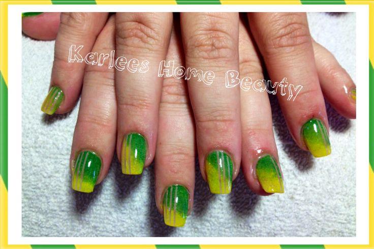 Green and gold nail art  Australia day nails @Naomi Holly