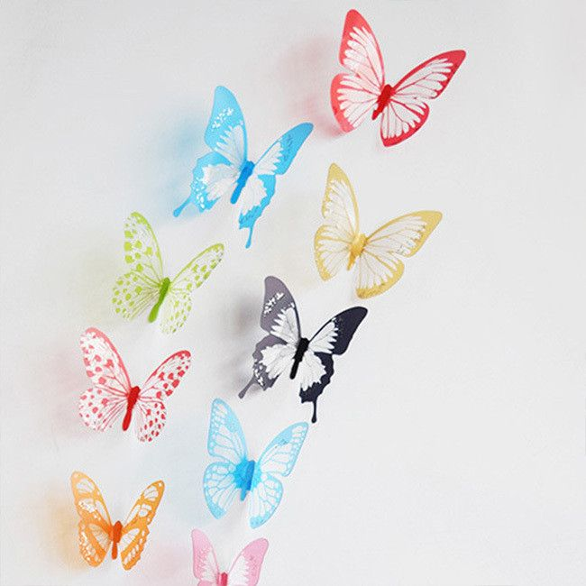 NEW 18 pcs 3D DIY Wall Sticker Stickers Butterfly Home Decor Room Art Decoration 4 types