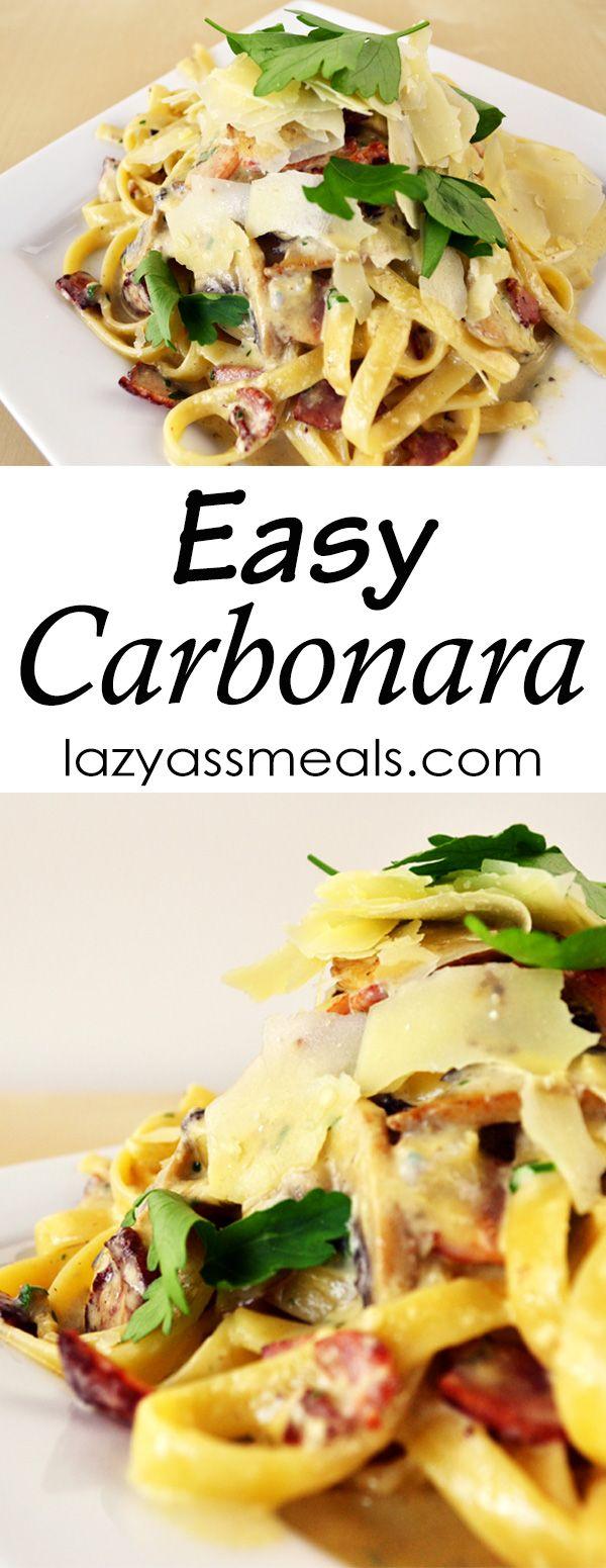 A super easy mouth-watering creamy bacon carbonara! http://lazyassmeals.com/easy-carbonara-recipe