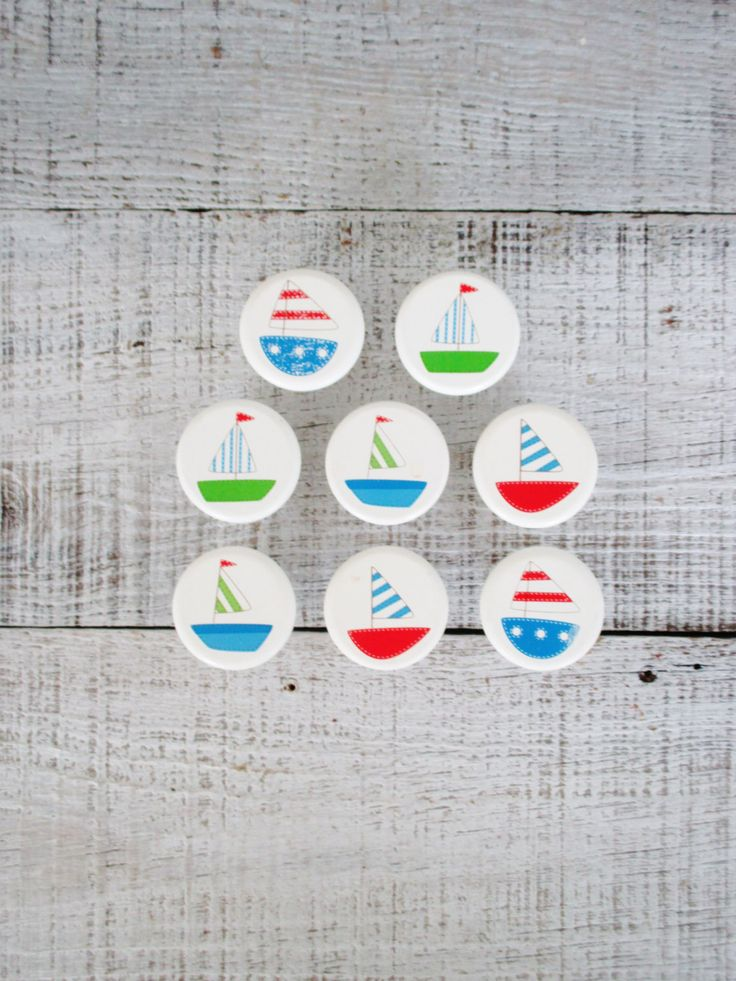 Drawer Knobs 8 Wooden Drawer Pulls with Sailboats on Them Nautical Wooden Cabinet Knobs Wooden Pulls White Dresser Drawer Knob Boy Nursery by TheDustyOldShack on Etsy