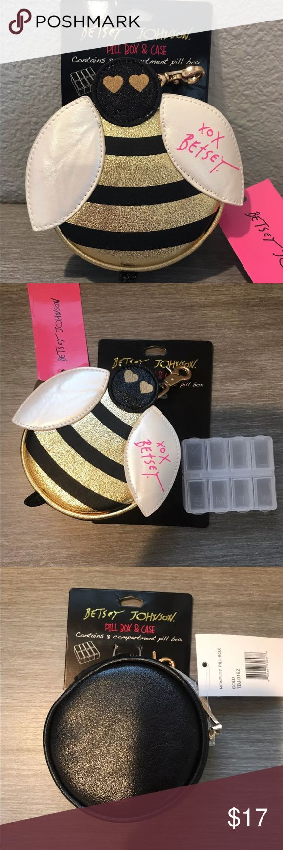 Betsey Johnson Bumble Bee Pill Box and Case Betsey Johnson Bee Pill Box and Case. Contains 8 compartment Pill Box. Super cute!! Has a gold clip on. Betsey Johnson Accessories