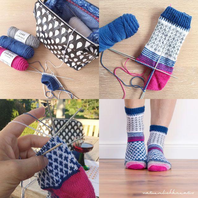 Ich habe mir in den letzten Tagen ein Paar kuschlig warme bunte Socken gestrickt. Die Anleitung kommt von Kerstin / Stine&Stitch .    ...