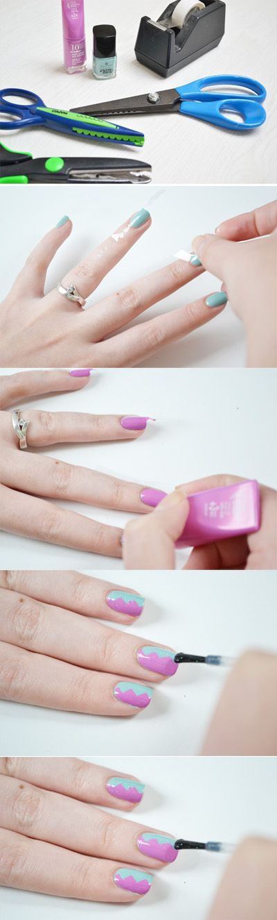 Zig-Zag Nails   12 Amazing DIY Nail Art Designs Using Scotch Tape