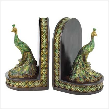"""$13.99 Peacock bookends with jewel-tone greens and golds against the deepest tones of mahogany.  Polyresin.  Each is 7 5/8"""" x 3 7/8"""" x 6"""" high.  Pair."""