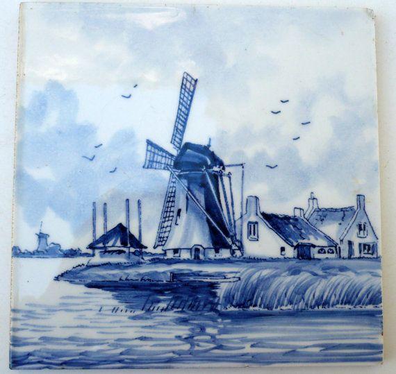 Vintage Delft Tile Dutch Ceramic Tile, Blue And White