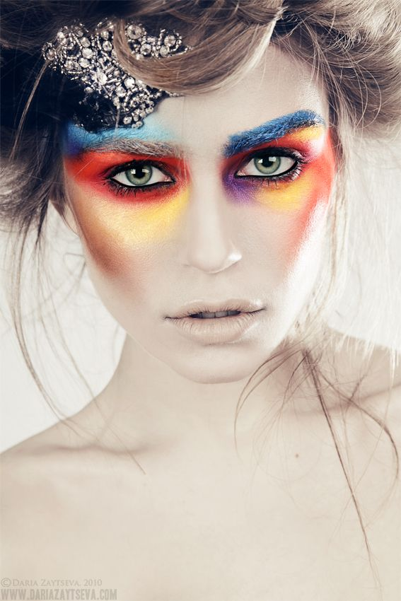 Rainbow makeup. http://daria-zaytseva.deviantart.com/art/KseniaTsII-by-Daria-Zaytseva-192938305?q=gallery%3Adaria-zaytseva%2F6239436=174
