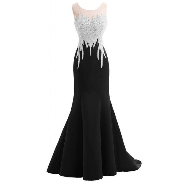 Gorgeous Bridal Satin Beaded Elegant Formal Prom Gown Evening Gown... ($109) ❤ liked on Polyvore