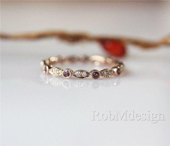 Art Deco stile 14k oro rosa Band eternità completo Milgrain lunetta diamanti e Ametista Anello fedina anello di fidanzamento anello di nozze