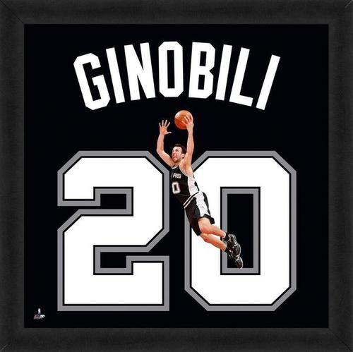 Manu Ginobili Framed San Antonio Spurs 20x20 Jersey Photo