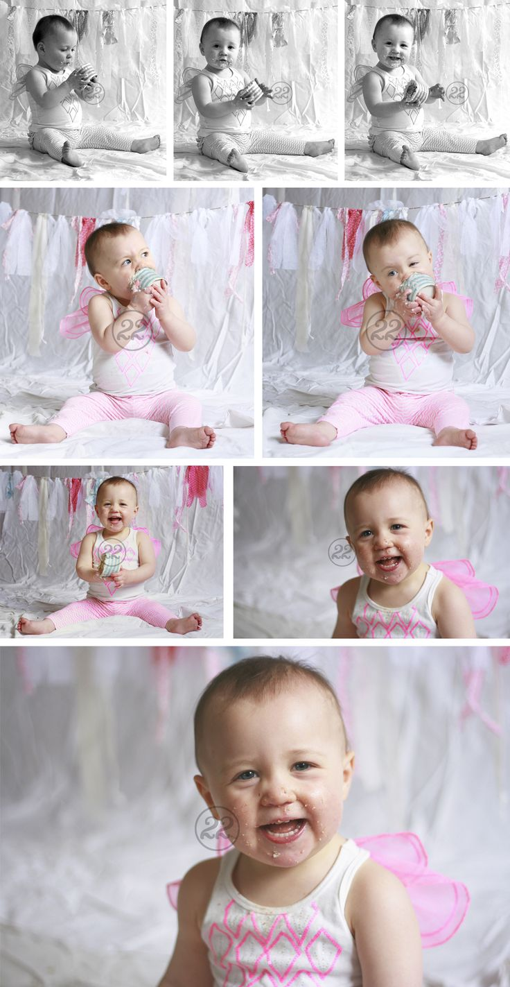 Adorable portraits of a birthday girl for a shabby chic 'Sky' themed 1st birthday party