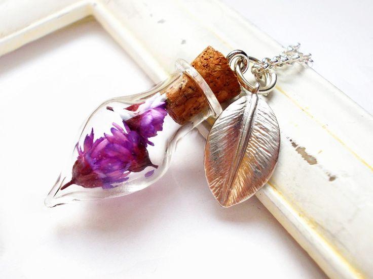 """Ketten mittellang - Glaskugel-Kette silber """"Blütenflakon"""" lila Phiole - ein Designerstück von kirschrot-schmuckdesign bei DaWanda"""
