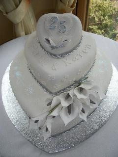 Silver Anniversary Cake/ could make it in gold for 50