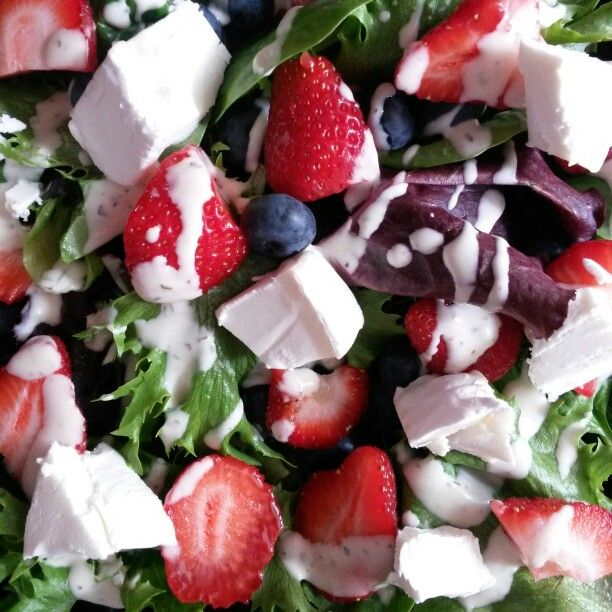Goats cheese, strawberry & blueberry salad - goats cheese (the tangy aged kind with white rind), blueberries, strawberries, mixed leaves, fresh basil, fresh mint & pizza express light house dressing (or any vinegary sharp creamy dressing!).
