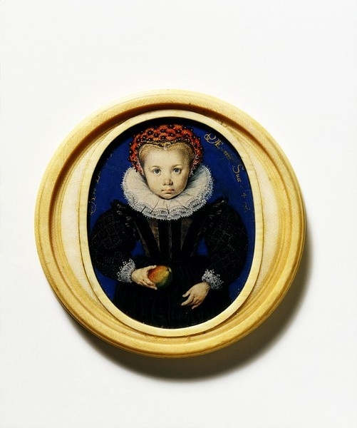 Girl Holding Apple, Isaac Oliver, 1590