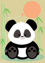 Poster: Pandabeertje met ballon