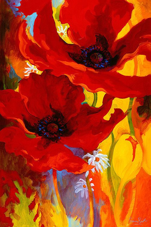 Poppies watercolor pinterest watercolor paintings for Bright flower painting