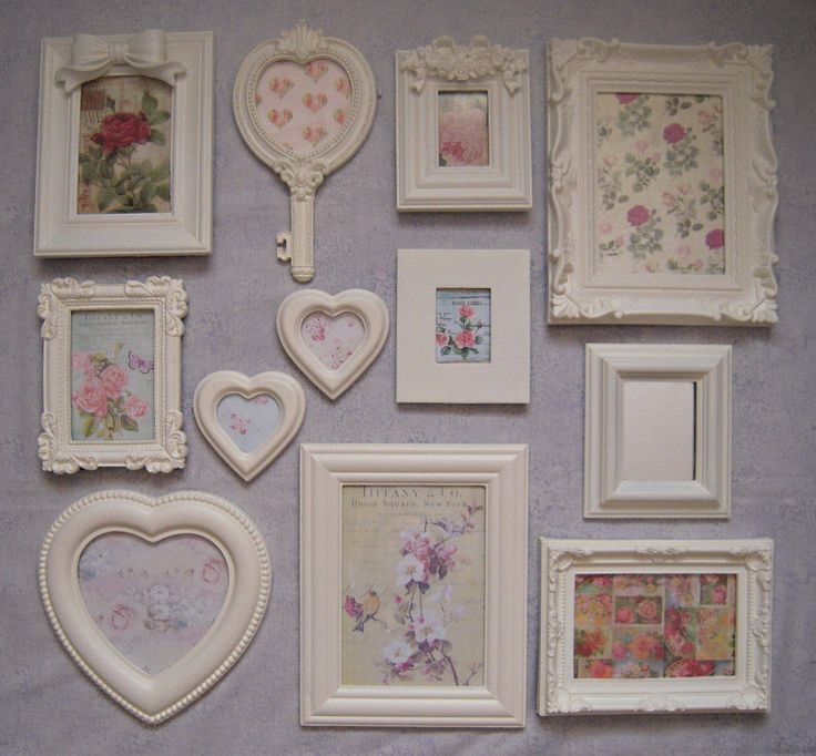 Shabby Chic Photo Frames Laura Ashley Country White Paint Vintage Roses Pictures | eBay