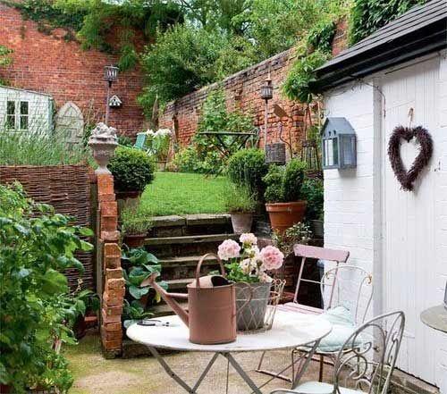 English Country Cottage & Hunt Theme Decor - Follow Me on Pinterest, Suzi M, Interior Decorator Mpls MN.  Brick walled garden