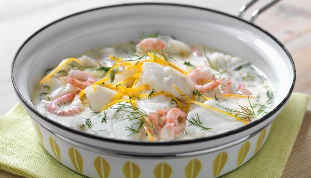 Fiskesuppe med torsk og reker, Fotograf: Studio Dreyer-Hensley