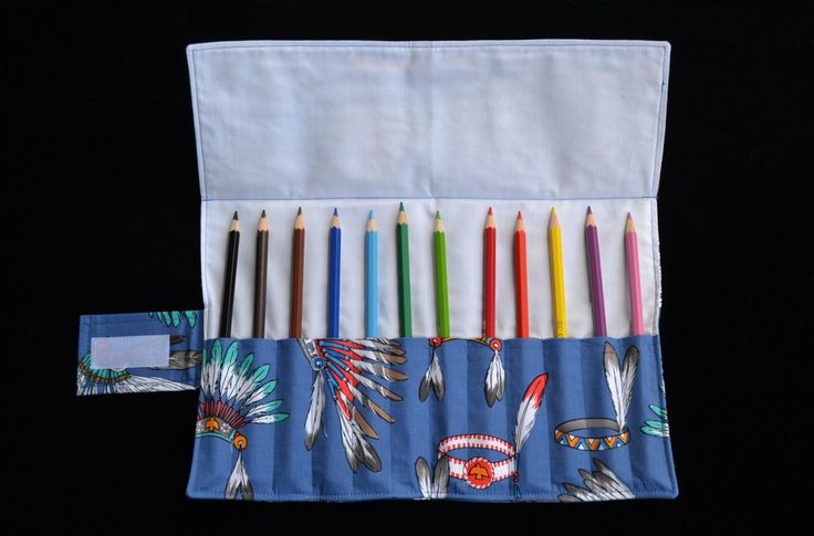 Indian Feathers 'Ramsay' Pencil Roll, handmade pencil roll, fabric pencil roll by MayboleandWick on Etsy