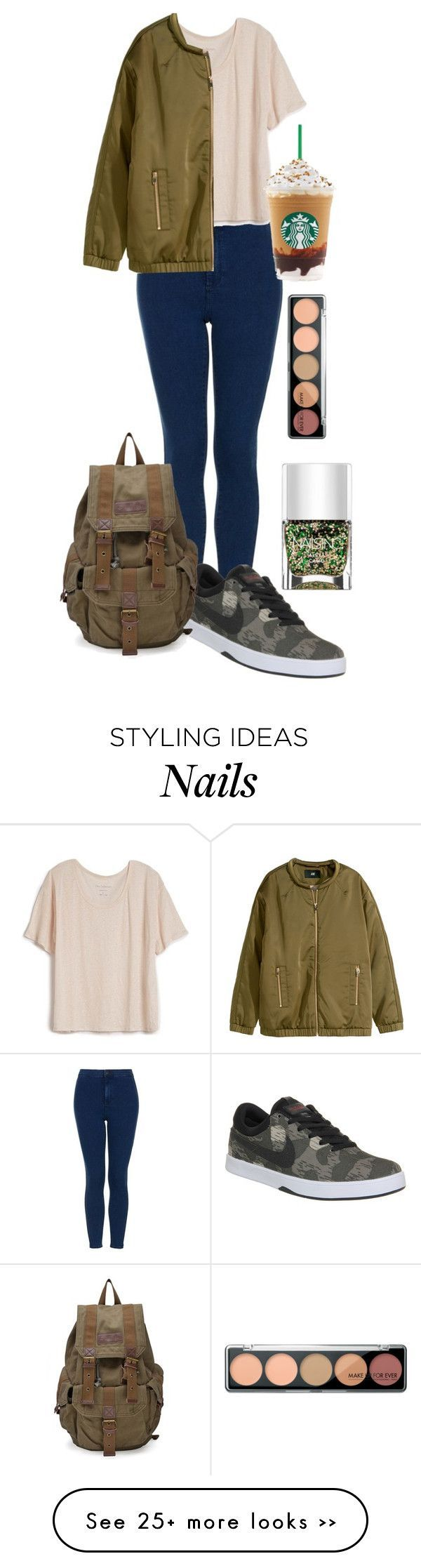 """""""Today's Outfit"""" by georgielearx on Polyvore featuring Topshop, Fine Collection, H&M, NIKE and Nails Inc."""