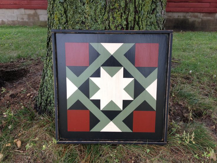 PriMiTiVe Hand-Painted Barn Quilt, Small Frame 2' x 2' - Magic Carpet Pattern