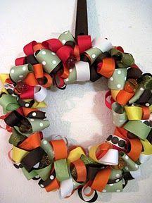 Ribbon Wreath! Cute.  3 yards of wide ribbon. 12'' foam wreath. Random colored ribbon strips.