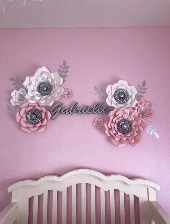 Pink Gray Paper Flower Set Nursery Decor Girl Nursery Affiliate Paper Flower Decor Paper Flower Wall Decor Flower Nursery