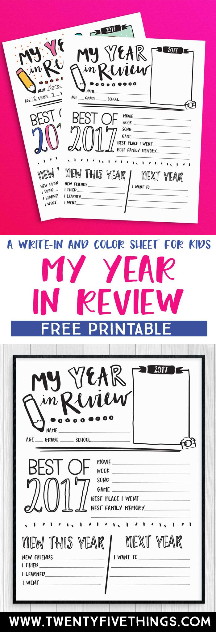 Print this Year in Review printable and have fun looking back on the year with the kids. This free printable is new for 2017 and is a great kids activity for New Year's Eve. #FreePrintable #NewYearsEve #KidsActivity #KidsKeepsake
