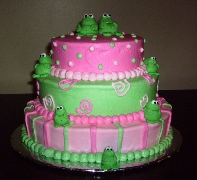 Frog Baby Shower Cake By Laura102777 on CakeCentral.com