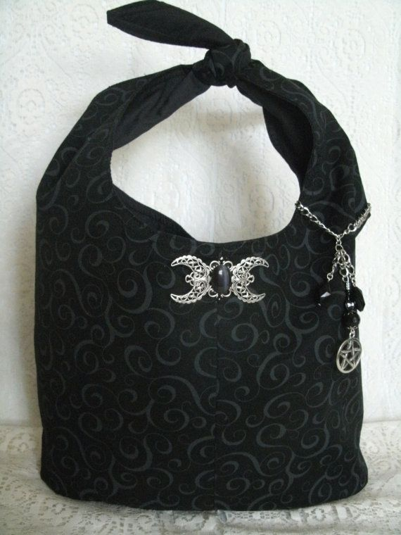 Triple Moon Goddess Purse With Pentacle wiccan clothing pagan