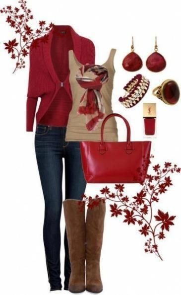 Gorgeous color combination going on here!  Red + tan and camel + denim + gold accents.  This would be ideal for an autumn occasion...perhaps the perfect Thanksgiving outfit?