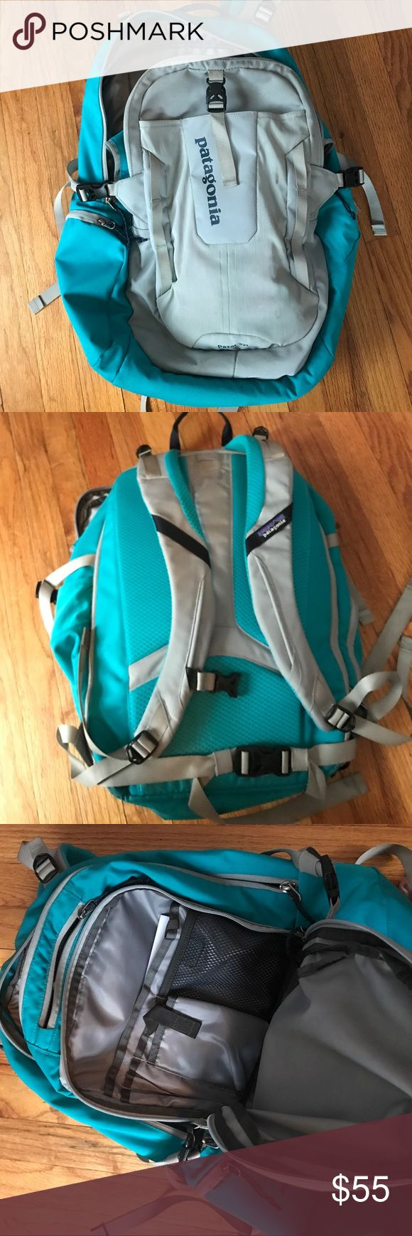 Grey and light blue Patagonia Paxat 32L backpack Great backpack I used for my senior year of high school! No damage what so ever, carried everything I could ever need and more. Since I'm only 5'0 that bag looked a little to big for me so I won't be bringing it to college. Any questions feel free to ask! Patagonia Bags Backpacks