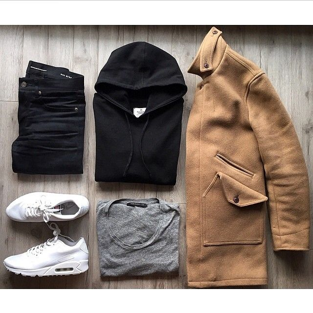 """#Outfitgrid by @jlau1303 featuring: Wings & Horns coat, Reigning Champ pullover hoodie, John Elliott + Co. tee, Saint Laurent denim and Nike Air Max 90 Hyperfuse """"Independence Day""""."""