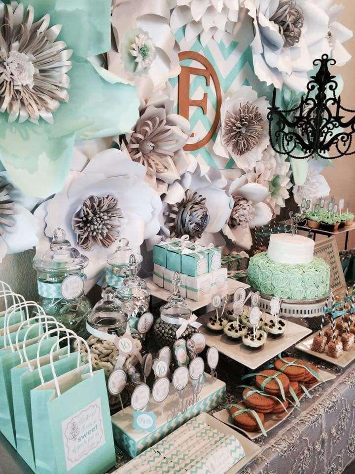 Mint, gray, white and chevron party! See more party planning ideas at CatchMyParty.com!