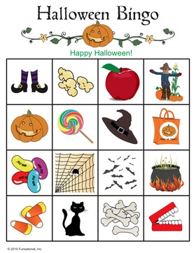 halloween picture bingo cards to buy - Preschool Halloween Bingo