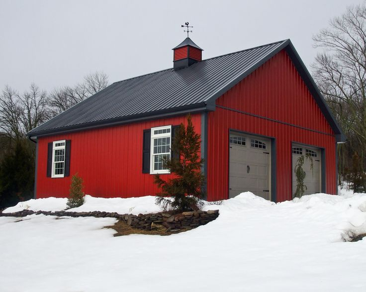 Red barn pole barn home sweet home pinterest dairy for Pole garage pictures