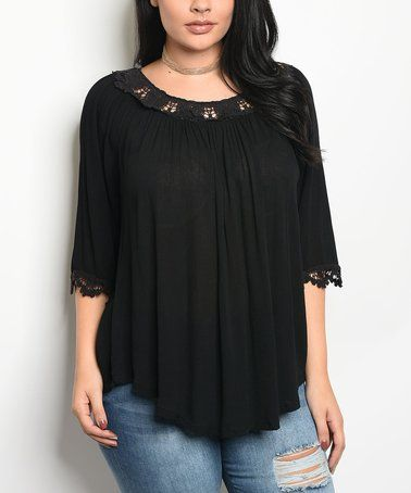 c11fad7c8b59 Another great find on  zulily! Black Lace-Yoke Scoop Neck Top - Plus   zulilyfinds